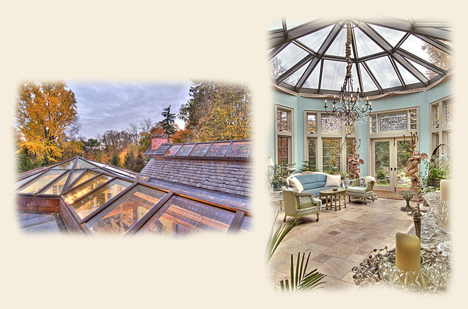A Large Glass Roof and Copper Clad Ridge Skylight by Renaissance Conservatories