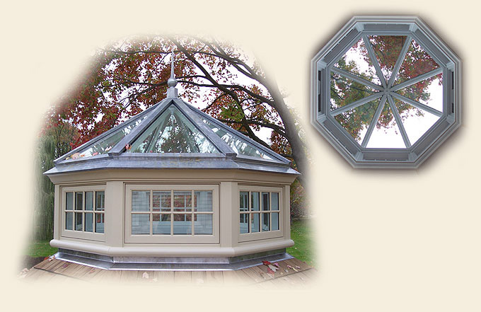A Lead Coated Copper Clad Octagonal Roof Lantern by Renaissance Conservatories