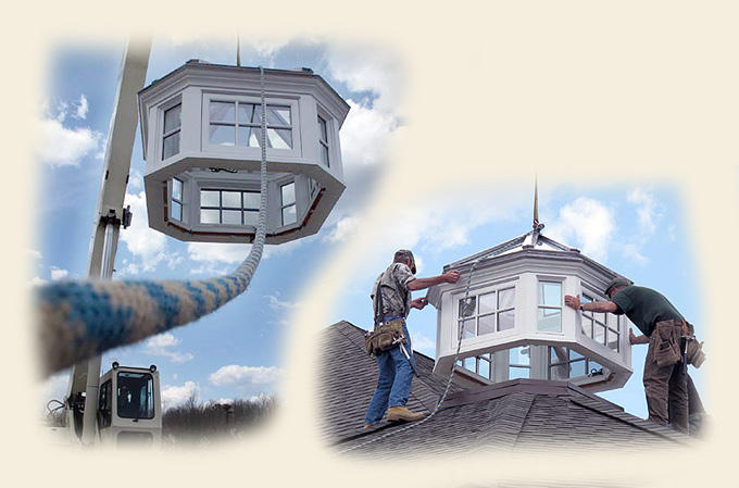 A Glass Roof Cupola Being Crane Hoist Installed by Renaissance Conservatories