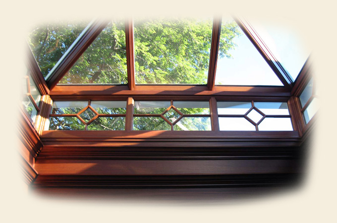 A Naturally Finished Wood Glass Roof Lantern by Renaissance Lanterns & Skylights